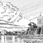 Тернопільський став, папір, гелева ручка, 30х40, 2021 - Лілія Ліщинська