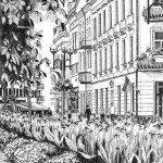 Тернопіль, вулиця Сагайдачного, папір,гелева ручка, 30х40, 2021 - Лілія Ліщинська
