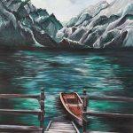 Човен в озері, полотно, олія, 50х40 - Сікорська Аліна