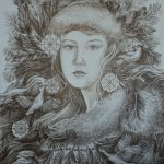 Зима, шариковая ручка, 30х40, Шабалова Ольга