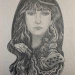 Змея подколодная, шариковая ручка, 30х40, Шабалова Ольга