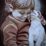 Малыш и щенок, масло, картон, 20х30 - Татьяна Шемелина