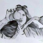 Портрет девушки с яблоком, ватман, графика, карандаш, 30х42, Алина Коваленко